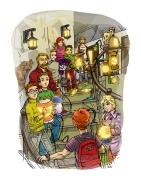 A lámpásember -childrens book illustration